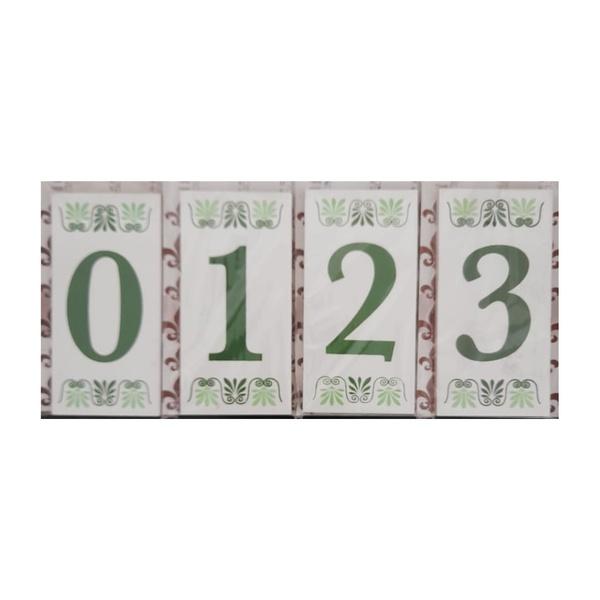 Algarismo Residencial Cerâmico Verde Nº0 ao Nº9 Ref.7004 - Cerâmica e Art