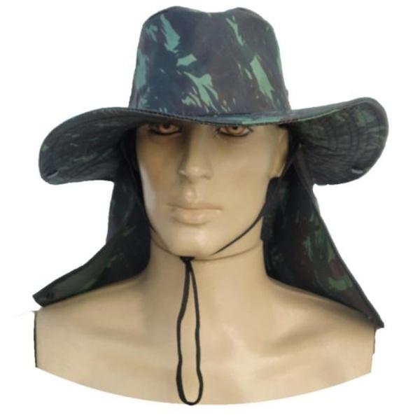 Chapéu De Pano Com Pala Protetora Para Nuca