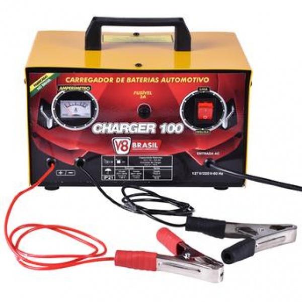 Carregador De Bateria Bivolt 12v Charger 100 10a - V8 Brasil