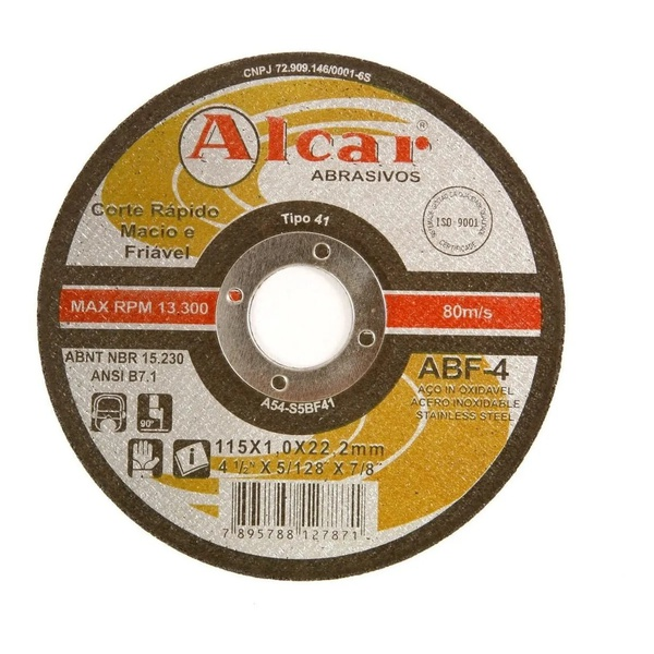 Disco de Corte 115,0mmx1,0mmx22,2mm ABF - 4 Inoxiavel - Alcar
