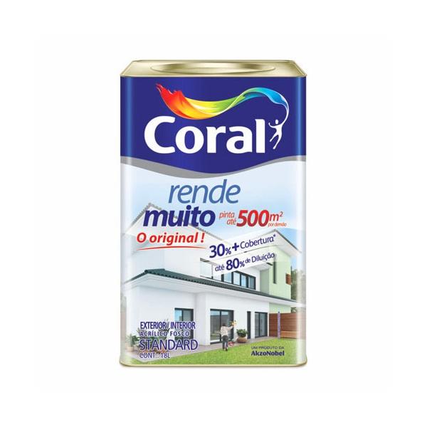 Tinta Acrílica Fosco Coral Rende Muito 18L - (Escolha Cor)