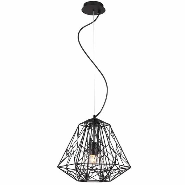 Pendente Bella Iluminação Gabbia Preto 35x30Cm Aço P/1 Lampâda E27