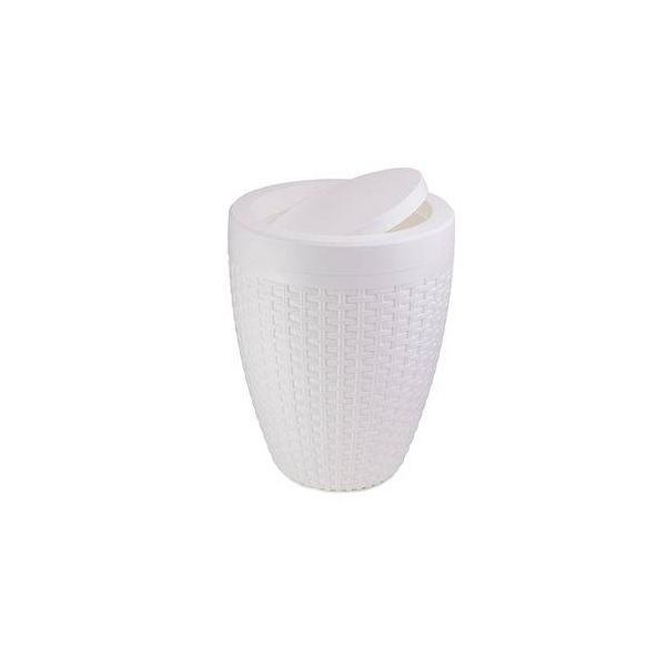 Lixeira Basculante Rattan Branca 6 Litros-Aquaplas