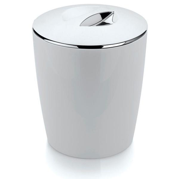 Lixeira Cromo Vitra 5 Litros Branca-Martiplast