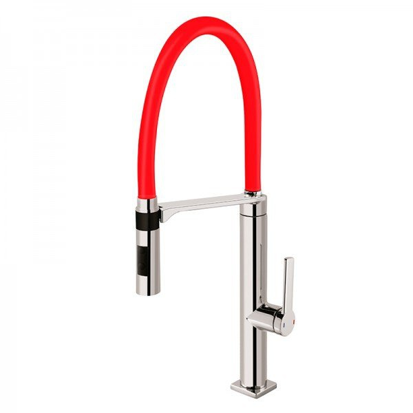 Misturador Monocomando Para Cozinha De Mesa Bica Móvel Chrome/Red 00695779-Docol