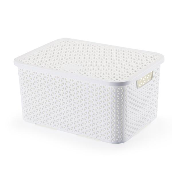 Caixa Organizadora 32x22x18,5 C/tampa 16 Litros Branca-Arthi