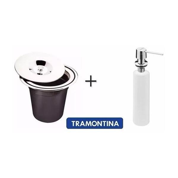 Kit Lixeira Inox Embutir Clean 5 Litros + Dosador De Sabão 500ML Tramontina