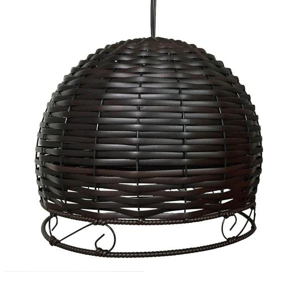 Luminária Redonda com Dois Bocais Borda em S 36,5x46Cm Preta-Justino