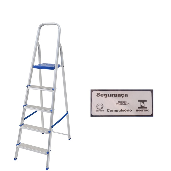 Escada Alumínio 5 Degraus-Mor