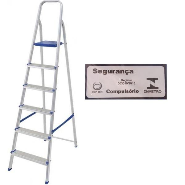 Escada Alumínio 6 Degraus-Mor