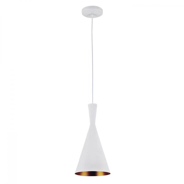 Pendente para 1 Lâmpada Cone Chinês Alumínio Branco/Dourado-Blumenau