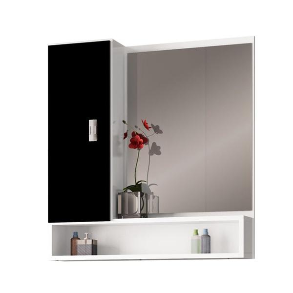 Espelheira Orquídea MDF 60Cm Branca/Preta-Cozimax