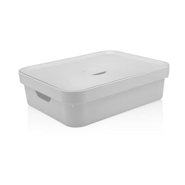 Caixa Organizadora Cube G Baixa 16 Litros Branca Com Tampa-Martiplast
