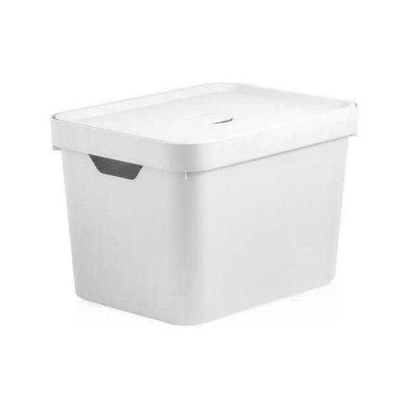 Caixa Organizadora Cube M 18 Litros Branca Com Tampa-Martiplast