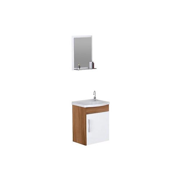 Kit Para Banheiro com Toucador, Pia e Espelheira Turim 39Cm Nogal-AJ Rorato