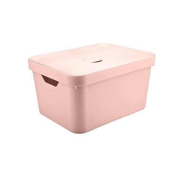 Caixa Organizadora Cube G 32 Litros Rosa Com Tampa-Martiplast