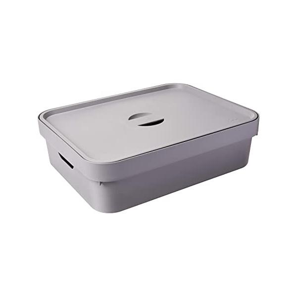Caixa Organizadora Cube M 10,50 Litros Chumbo Com Tampa-Martiplast
