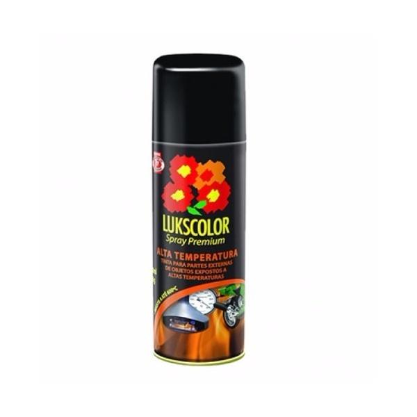 Tinta Spray Alta Temperatura Preto Fosco-Lukscolor