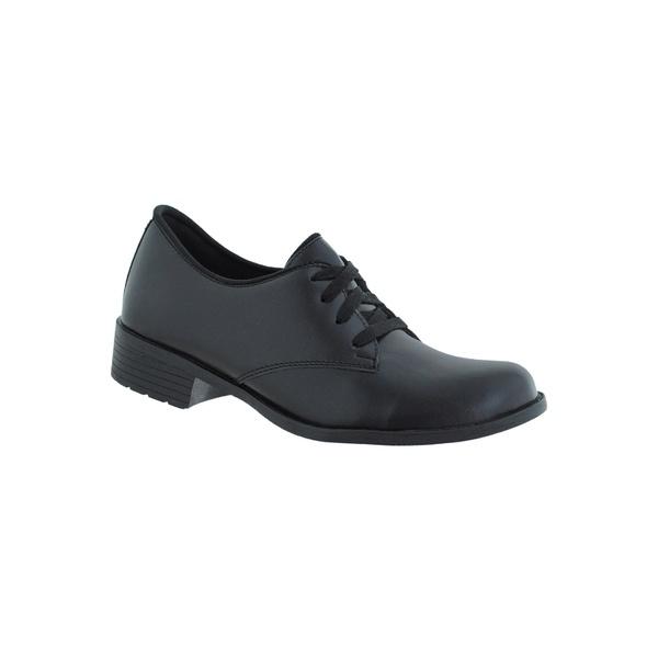 Oxford Feminino Salto Baixo CRshoes Preto Fosco