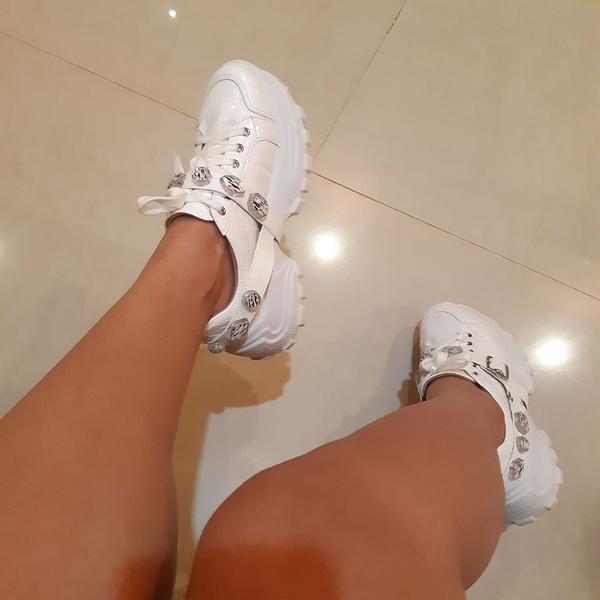 Tenis Feminino Camminare Verniz Branco Conforto