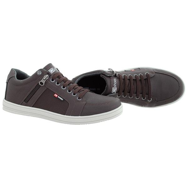 Sapatenis masculino casual CRshoes com ziper lateral Café