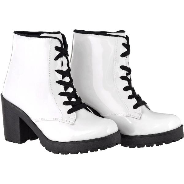 Coturno feminino tratorado CRshoes verniz branco