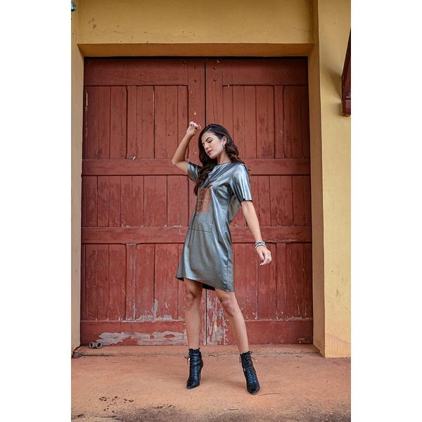 T-Shirt Dress metalizada Vida Bela