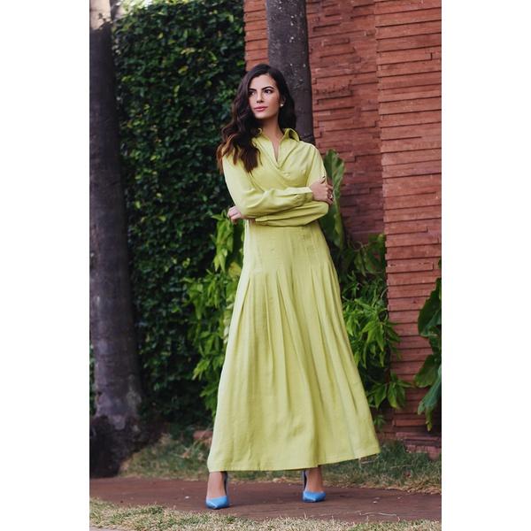 Calça ampla pregas verde vida bela
