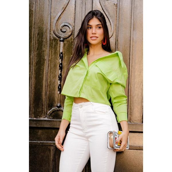 Camisa gola ponta verde vida bela