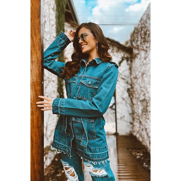 Parka barra desfiada alcance jeans