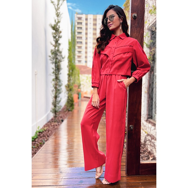 Calça pantalona vermelha vida bela