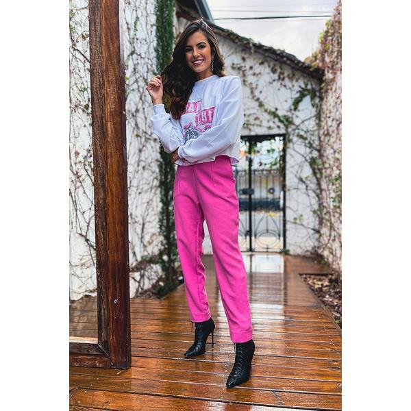 Calça linho rosa vida bela