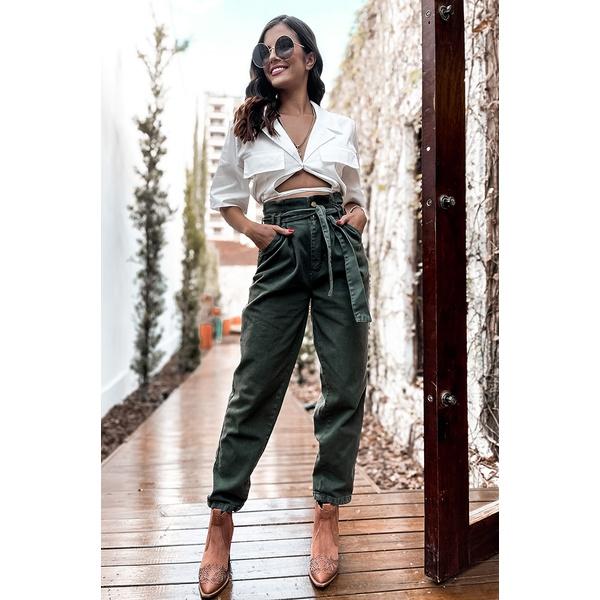 Calça verde baggy alcance jeans