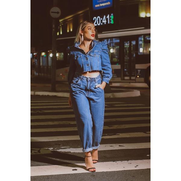 Calça baggy jeans escura