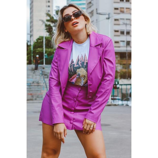 Jaqueta couro rosa Vida Bela