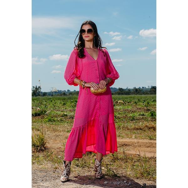 Vestido Longuete Chiffon Salgunamu Rosa