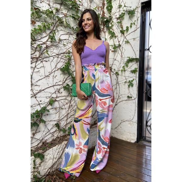 calça pantalona estampada floral vida bela