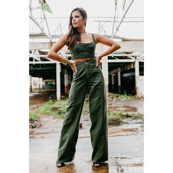 Calça pantalona alcance jeans verde militar