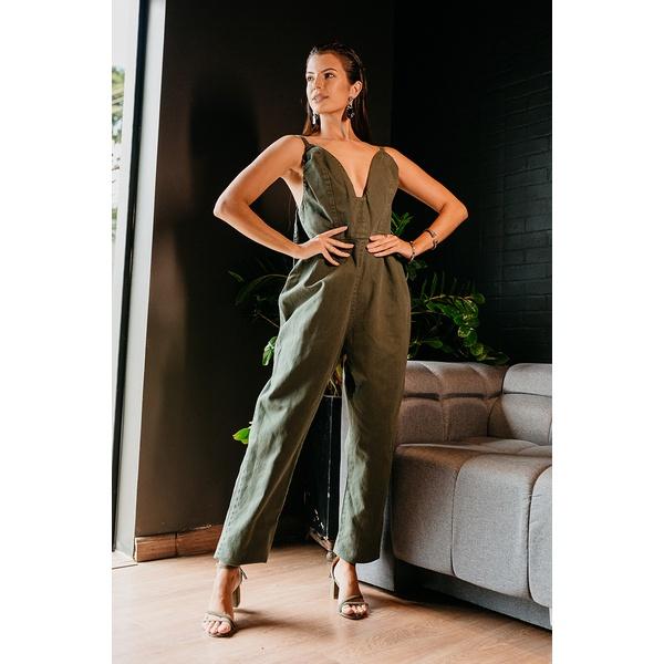 Macacão alcance jeans verde militar