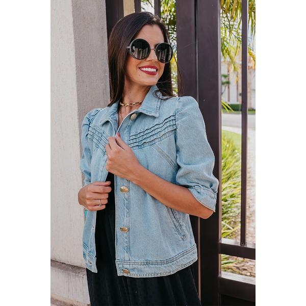 Jaqueta Litt Jeans Manga Bufante