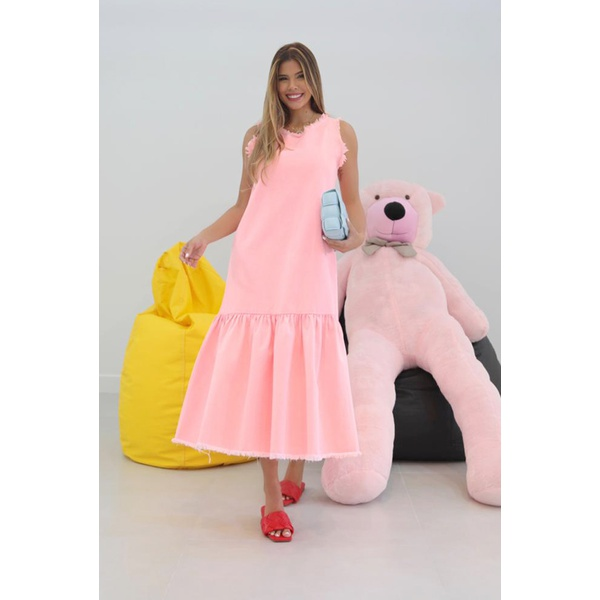 Vestido Midi em Sarja Rosa Bebê