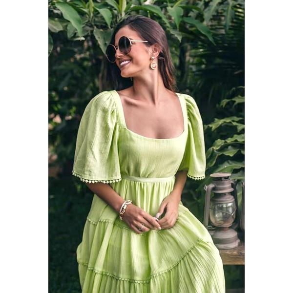 Vestido em Algodão Verde