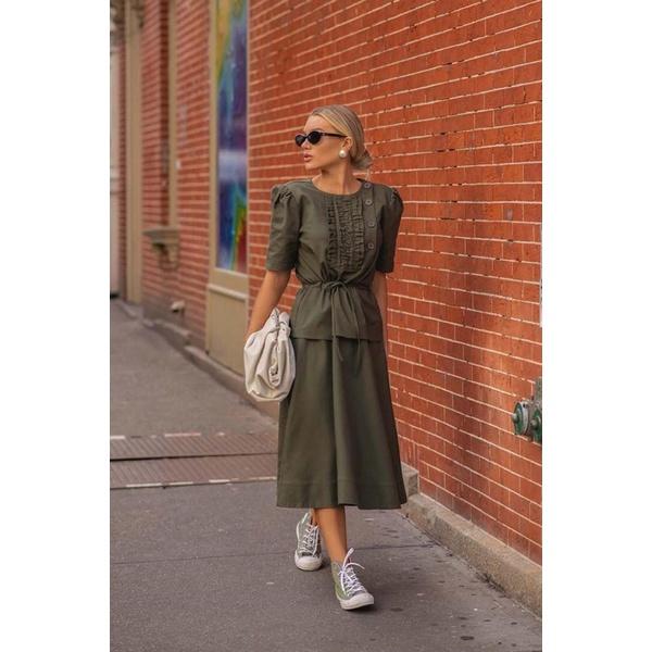 Vestido Detalhe Grapiado Amarração Verde Militar