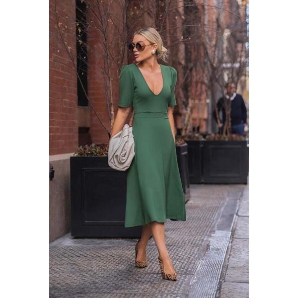Vestido Mide Decotado Manga Bufante Verde