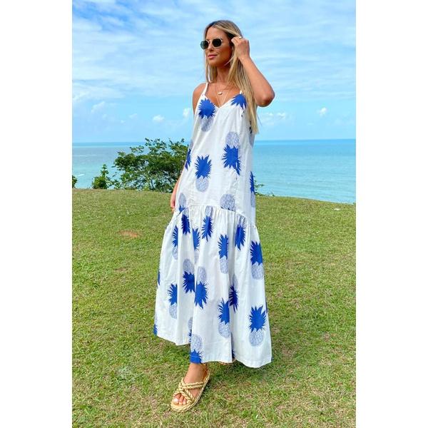 Vestido Salgunamu Abacaxi Azul
