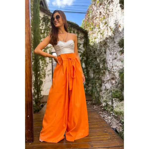 Calça pantalona laranja salgunamu