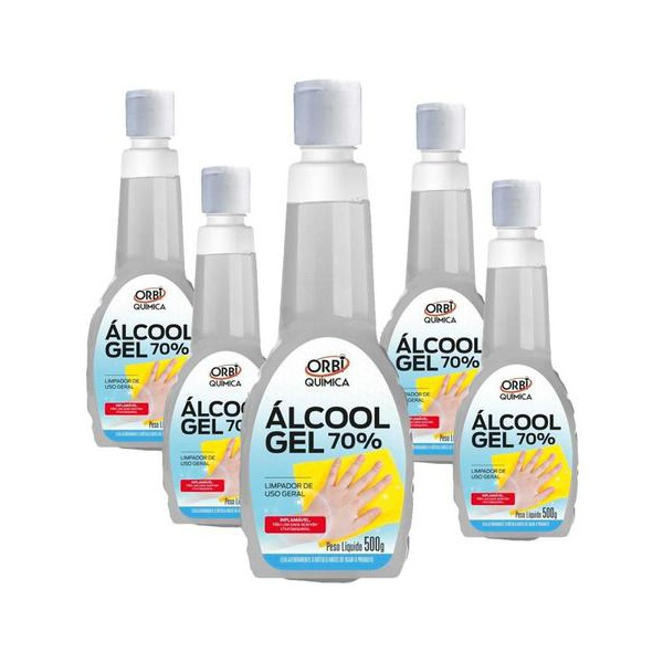 Kit com 5 Álcool Gel Antisséptico 70% 500 Ml