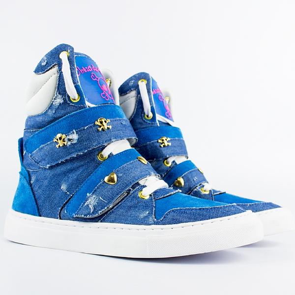 Tenis Sneaker Feminino Azul Cano Alto