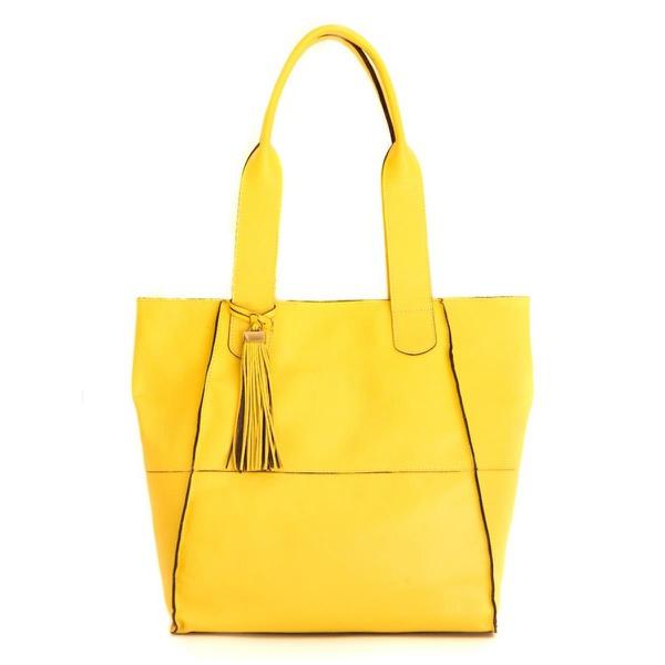 Bolsa Lagan Feminina em Couro Amarelo