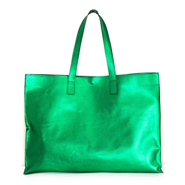 Bolsa feminina Lagan em Couro / Verde Metalizado
